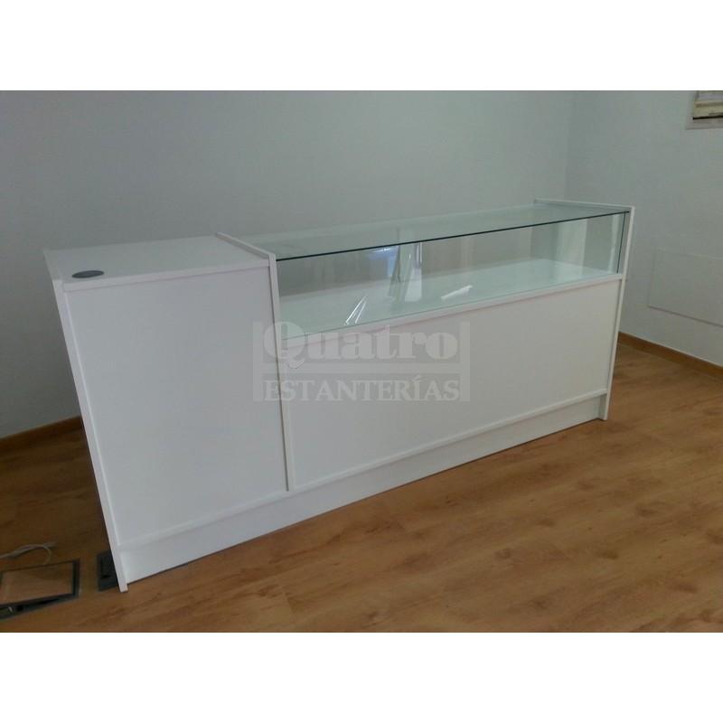 Mostrador mini vitrina y modulo para ordenador o caja - Vitrinas de cristal de segunda mano ...