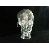 Cabeza unisex de cristal o vidrio transparente interior hueco.